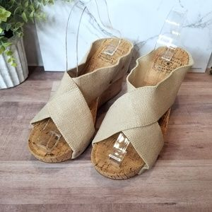 Lucky Brand Cork Wedge Crisscross Sandals 7.5